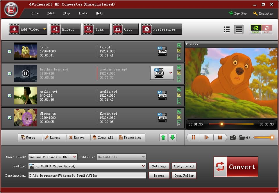 4Videosoft HD Converter software edit screen