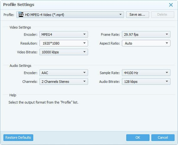 4Videosoft HD Converter software Profile Settings screen
